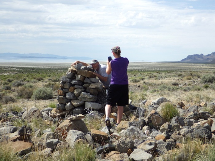 Dad and Sister admiring the stone monument.
